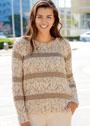 Пуловер с полосами разных цветов и узоров. Спицы