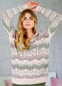 Свободный пуловер с ажуром и узором из снятых петель. Спицы