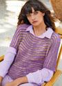 Двухцветный пуловер с узором из вытянутых петель. Спицы