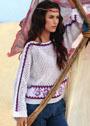 Летний сетчатый пуловер с жаккардовыми полосами. Спицы