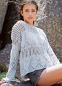 Легкий серебристо-серый пуловер с чередованием узоров. Спицы