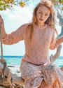 Меланжевый пуловер простой вязки. Спицы