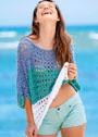 Сетчатый пуловер из разноцветной бахромчатой пряжи. Спицы