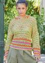 Пуловер оверсайз с сочетание цветов и узоров. Спицы