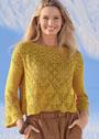 Укороченный желтый пуловер с ажурными узорами. Спицы