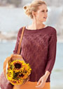 Пуловер с узором из ажурной резинки и ромбов. Спицы