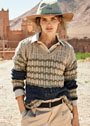 Трехцветный пуловер в полоску с V-образным вырезом. Спицы