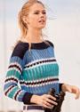 Короткий пуловер с контрастными полосами и ажурным узором. Спицы