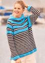 Пуловер в полоску и с воротником-капюшоном. Спицы