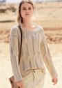 Бежевый пуловер с ажурными дорожками и ромбами. Спицы