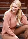 Женственный пуловер с узорчатой кокеткой. Спицы