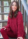Шерстяной пуловер oversize со структурным волнистым узором. Спицы