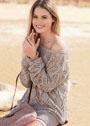 Ажурный пуловер свободного кроя. Спицы