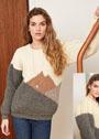 Пуловер с патентным узором и косами на плечах. Спицы