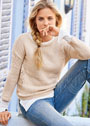 Бежевый пуловер с ажурными вставками. Спицы