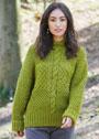 Теплый пуловер с капюшоном и миксом узоров. Спицы