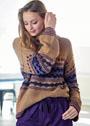 Пуловер с жаккардовым узором и широкими рукавами. Спицы