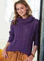 Пуловер с ажурным узором из кос, дополненный снудом. Спицы