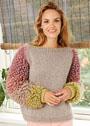 Пуловер с оригинальными меховыми рукавами. Спицы