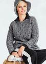 Современный street style: серый ажурный пуловер. Спицы