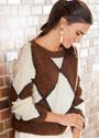 Теплый пуловер с вывязанными геометрическими фигурами. Спицы