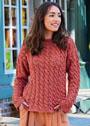Пуловер цвета меди с ажурным узором из кос. Спицы