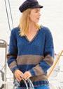 Двухцветный пуловер с шахматным узором и полосами. Спицы