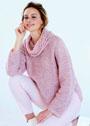 Свободный розовый джемпер с сетчатым узором. Спицы