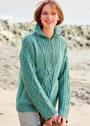 Пуловер с миксом узоров и застежкой-молнией на воротнике. Спицы