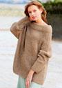 Бежевый пуловер с патентным узором и широким воротником. Спицы