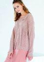 Пуловер с миксом узоров и центральными разрезами. Спицы