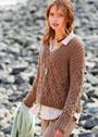 Светло-коричневый пуловер с косами и высокой резинкой. Спицы