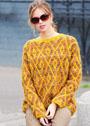 Пуловер с жаккардовыми ромбами. Спицы