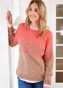 Двухцветный пуловер с горизонтальными полосками. Спицы