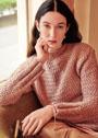 Темно-розовый пуловер с плетеным узором. Спицы