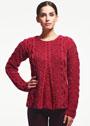 Красный расклешенный пуловер с косами и ромбами. Спицы
