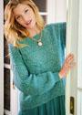 Пуловер с диагональными ажурными полосами. Спицы