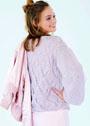 Розовый пуловер с ажурными ромбами. Спицы