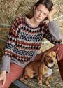 Стильный шерстяной пуловер с жаккардовыми узорами. Спицы
