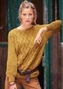 Золотисто-коричневый пуловер с узором из ромбов. Спицы
