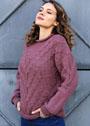 Шерстяной пуловер с диагональными косами. Спицы