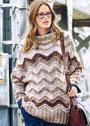 Свободный теплый пуловер с зигзагообразным узором. Спицы