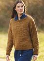Шерстяной коричневый пуловер с ажурным узором. Спицы