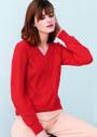 Красный шерстяной пуловер с зигзагами. Спицы