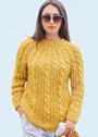 Желтый пуловер с круглой кокеткой из кос. Спицы
