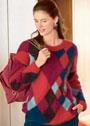 Мохеровый пуловер с разноцветными ромбами. Спицы