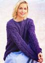 Шерстяной фиолетовый пуловер с сочетанием узоров из кос. Спицы
