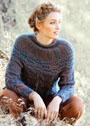 Пуловер с широкой круглой кокеткой и косами. Спицы