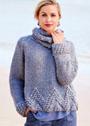 Кашемировый пуловер с отделкой крупными шишечками, дополненный снудом-воротником. Спицы