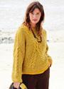 Пуловер оверсайз с Х-образными крупными косами. Спицы